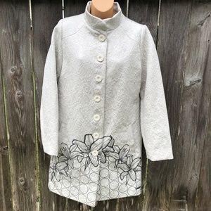 Desigual Long Jacket Coat Embroidered Oyster White